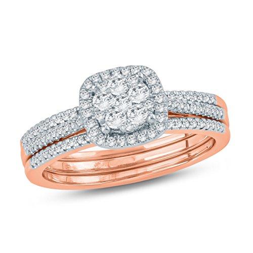 (1/2 CTTW Round Diamond Cushion Shaped Halo Composite Diamond Bridal Ring Set 10kt Rose Gold (IJ/I2))