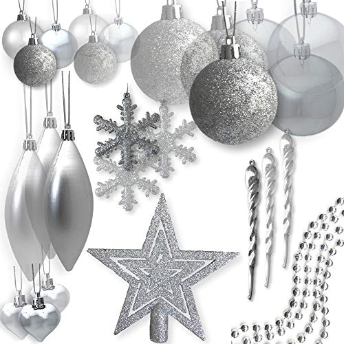 BANBERRY DESIGNS Shatterproof Christmas Ornaments - Assorted Set of 75 Silver Xmas Tree Decorations - Star Tree Topper - Silver Beaded Garland - Silver Ball Ornaments