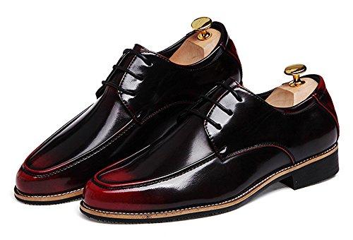 - MHB Men's Oxford Shoes Cap Toe Medallion Slip On Dress Shoes 9.5in Black Red