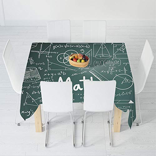 Waterproof Tablecloth,Mathematics Classroom Decor,for Dining-Table Tea Table Desk Secretaire,70.9 X 70.9 Inch,School Board Full of Drawings Formulas Shapes ()