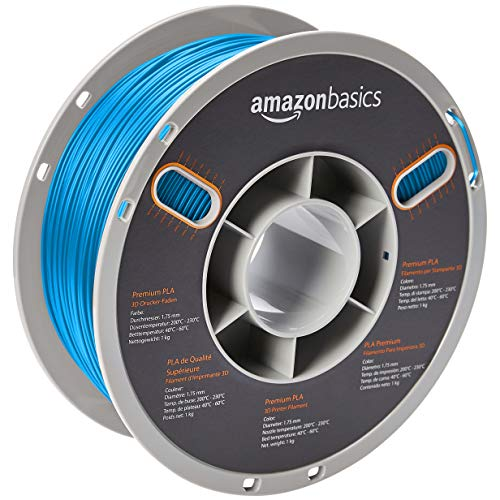 AmazonBasics Premium PLA 3D Printer Filament, 1.75mm, Blue, 1 kg Spool