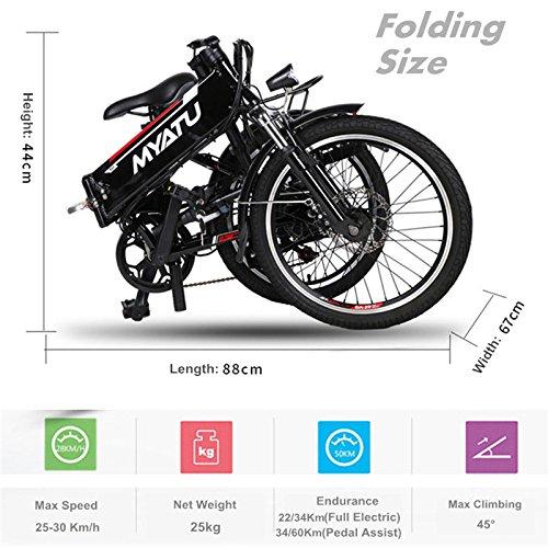 250W 48V 8.8Ah batería de litio fuerte 20 pulgadas bicicleta eléctrica, bicicleta de montaña plegable eléctrica, mejor para jinete 150-180cm, con carga USB ...