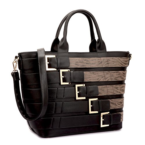 Dasein Women Tote Purse with Buckles Large Size Handbag with Shoulder Strap (Black/Coffee)