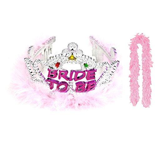 Bride to Be Flashing Tiara and Boa Bachelorette