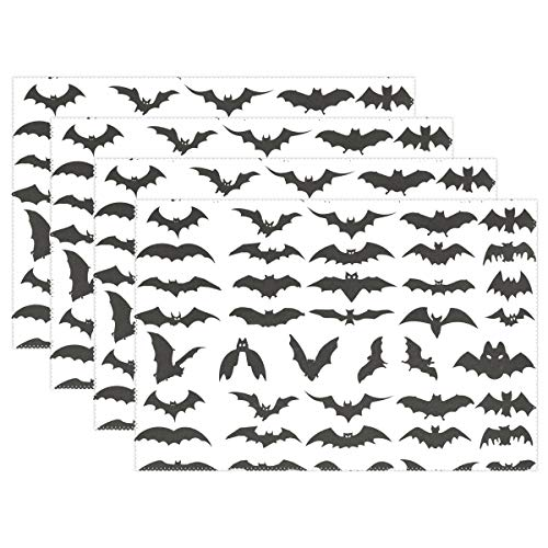 HEOEH Halloween Bat Clip Art Placemats Table Mat Heat Resistant Washable Place Mats for Kitchen Dining Room