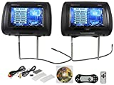 "Rockville RDP931-BK 9"" Black Car DVD/USB/HDMI Headrest Monitors+Video Games"