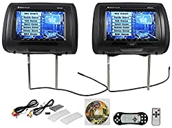 "Rockville Rdp931-bk 9"" Black Car Dvdusbhdmi Headrest Monitors+video Games"