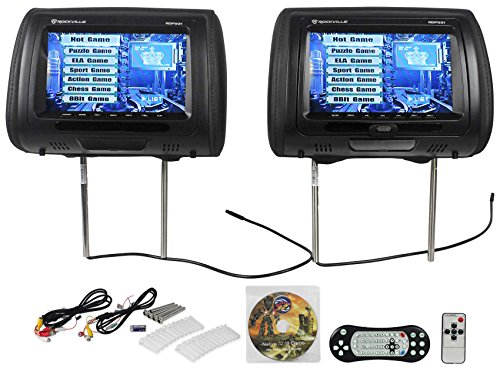 "Monitor Dvd De (Rockville RDP931-BK 9"" Black Car DVD/USB/HDMI Headrest Monitors+Video Games)"