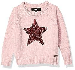 Sequin Star Zephyr Girls' Sweater In Pink Color