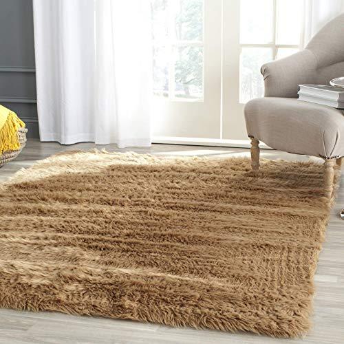 Shag Rug Acrylic - Safavieh Faux Silky Sheepskin FSS115E Camel Area Shag Rug (5' x 8')