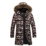 YANXH Winter The New Men Long Section Down Jacket Keep warm Hooded Coat , khaki , XL