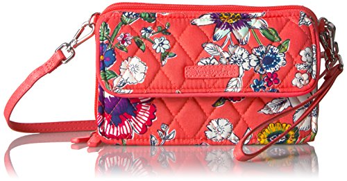 Vera Bradley Rfid All In One Crossbody Signature  Coral Floral