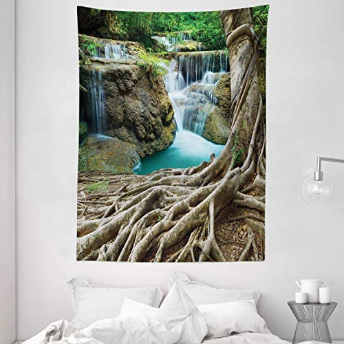 Ambesonne Waterfall Tapestry, Aged Tree Roots and Waterfall Landscape in Deep Forest Novelty on Earth, Wall Hanging for Bedroom Living Room Dorm Decor, 60 X 80 , Brown Green