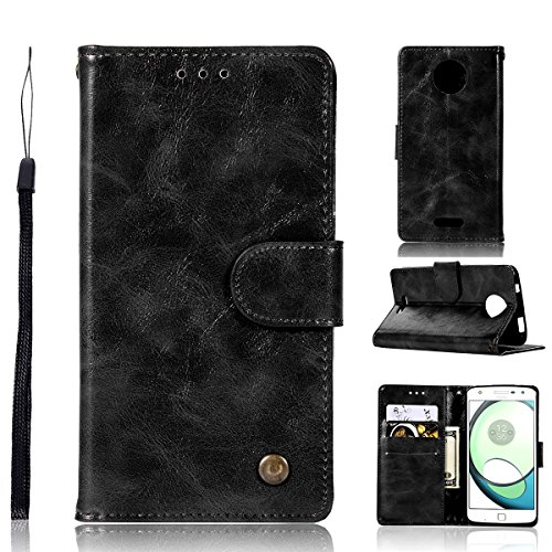 Motorola Moto C Plus Case,[ Shock Absorbent ] phone case PU Leather Kickstand Wallet Cover Durable Flip Case for Motorola Moto C Plus Black