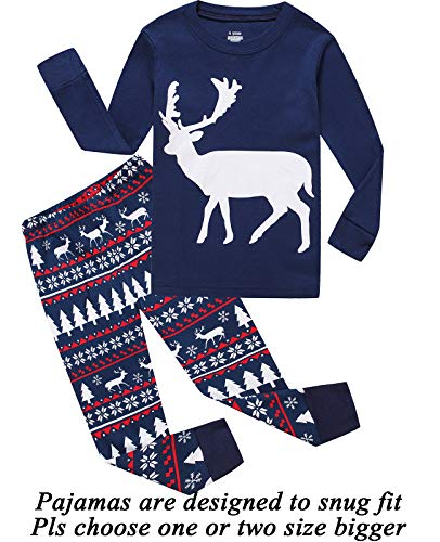 Little bety 100% Cotton Boys Christmas Pajamas Long Sleeve Moose Toddler Pjs Kids Sleepwear 3t