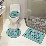 Hope 3 Piece Toilet lid cover mat set Hand Lettering Spiritual Faith Hope Love Quote with Floral Arrangement Hearts Printed Rug Set Pale Blue and Black