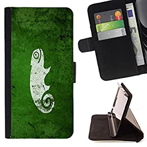 Jordan Colourful Shop - cool funny cute green nature chameleon For Apple Iphone 6 - < Leather Case Absorci????n cubierta de la caja de alto impacto > -