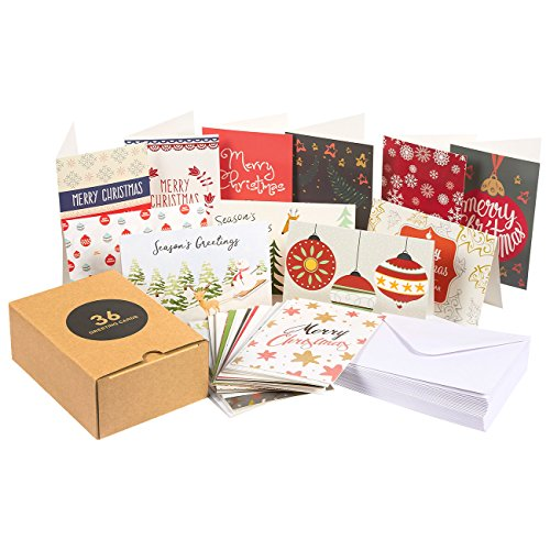 36-Pack Merry Christmas Greeting Cards Bulk Box Set - Assorted Winter Holiday Xmas Greeting Cards in 36 Unique Designs, Envelopes Included, 4 x 6 Inches