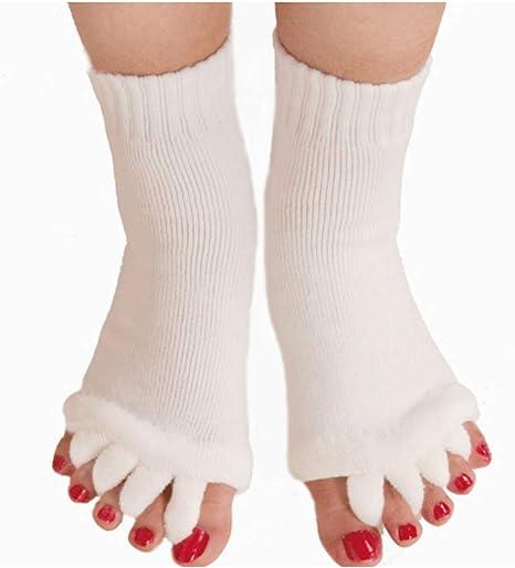 Lezed Calcetines separadores de Dedos para Yoga Cinco Separador De Dedos del Pie Calcetines Alineación Calcetines del Pie Cuidado De La Salud Calcetines De Gimnasia Aliviar Los Pies Dolor 2 Pares: Amazon.es: