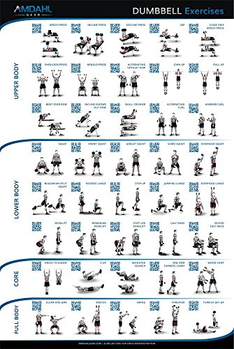 "Dumbbell Exercise Poster; 20""x30"" Workout Poster with 40 Exercises and QR Codes to Exercise Video Demonstrations to Help You Build Muscle and Burn Fat"