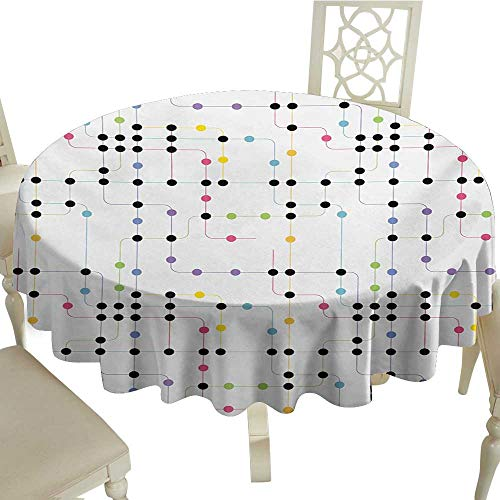 Cranekey Summer Round Tablecloth 70 Inch Colorful,Metro Scheme with Vivid Colored Intricate Lines and Dots Urban Life Transportation,Multicolor Great for,Outdoors & - Pub Metro Vinyl