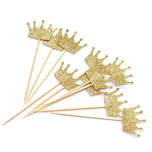 Devbor Gold Glitter Crown Cupcake Toppers 40 Pieces-First, Birthday Party, Baby Shower Decor -