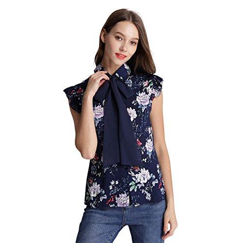 Dresms Women Button Down Bow Tie Floral Print Sleeveless Shirt Blouse, Bohemia Shirt Tunic (Blue, - Shirt Floral Sleeveless Print