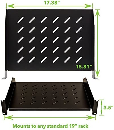 NavePoint 2U 19-Inch Universal Vented Rack Mount Cantilever Fixed Server Cabinet Shelf 16-Inches Deep Set of 4 Black