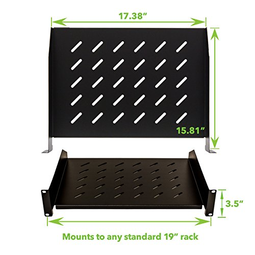 NavePoint 2U 19-Inch Universal Vented Rack Mount Cantilever Fixed Server Cabinet Shelf 16-Inches Deep Set Of 2 Black