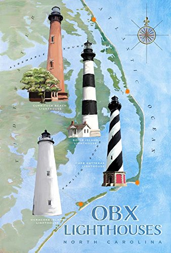 OBX Lighthouses by Art Licensing Studio Art Print, 13 x 20 inches
