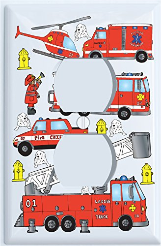 Amazon.com: Fire Trucks Outlet Switch Plate Cover / Fire Engine ...