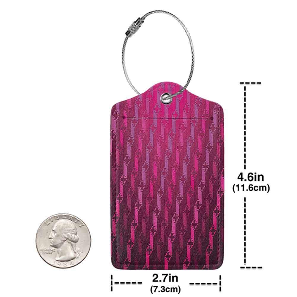 Decorative luggage tag Magenta Decor Abstract Stripe Psychedelic Motif Fashion Gradient Retro Structured Grid Art Suitable for travel Taffy Rouge W2.7 x L4.6