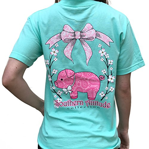 Southern Attitude Pig Sea Foam Green Cute Preppy Southern Animal Short Sleeve Tee Shirt (Medium) - Womens Southern Clothing
