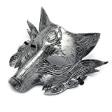 Face mask Shield Veil Guard Screen Domino False Front Halloween Makeup Dance Wolf Head Horror mask Party Animal Werewolf Killing Game Full face mask Silver