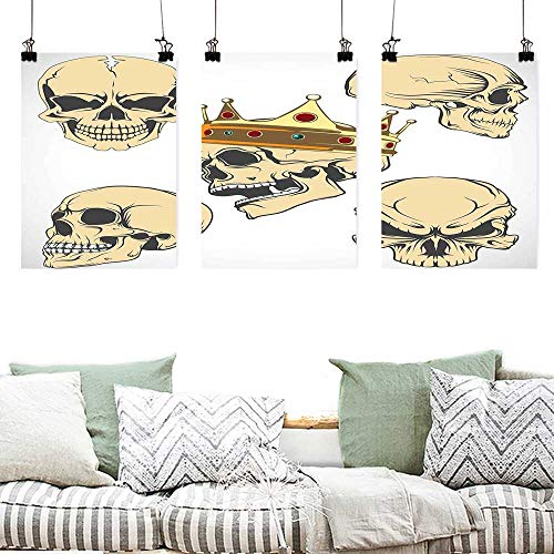 Agoza Pattern Oil Painting Art Skull Skulls Different Expressions Evil Face Crowned Death Monster Halloween Print A for Your Relatives and Friends 3 Panels 16x24inchx3pcs Sand Brown Yellow -