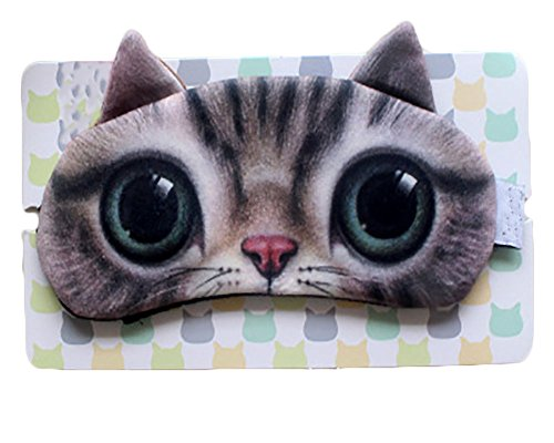 Cute Cartoon Sleeping Mask Eye Mask Cat Face Travel Shades Cooling Bag Inside with 2 Elastic Strap Blindfold Aid Gift (Cute - For Shapes Face Shades Different