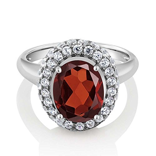Sterling Silver Red Garnet Gemstone Birthstone Women's Ring (4.51 cttw, Available in size 5, 6, 7, 8, 9) - Garnet Sterling Silver Designer Ring