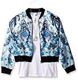 Beautees Big Girls' 2pc Ls Butterfly Bomber Jacket/Solid Tank, Powder Blue, S