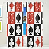 Ethel Ernest Special Poker Card Hearts Square Clubs Window Blackout Curtains With Grommet, 55W x 84L Inch, Darkening Blind Insulated Sun-proof Curtains for Bedroom,Living Room,Including 2 Panels