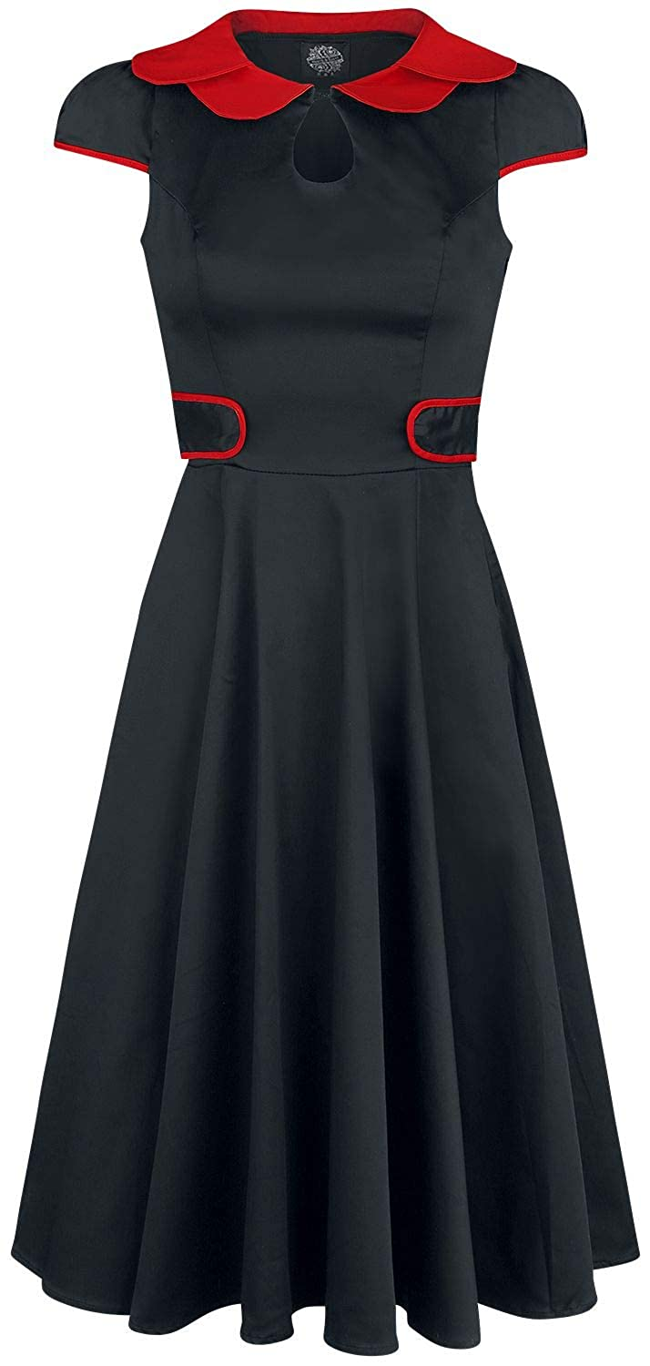 Rockabilly Dresses | Rockabilly Clothing | Viva Las Vegas H&R London Black Peter Pan Collar Swing Dress Medium-Length Dress Black-red £41.79 AT vintagedancer.com
