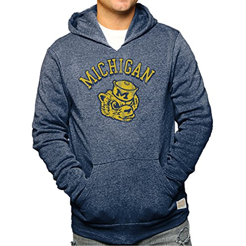Michigan Wolverines Adult Retro Logo Soft Tri-blend Hooded Sweatshirt - Navy , XX-Large