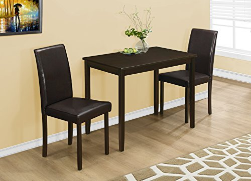 Monarch Specialties I 1015, Dining Set Set, Parson Chairs, Cappuccino, 3pcs