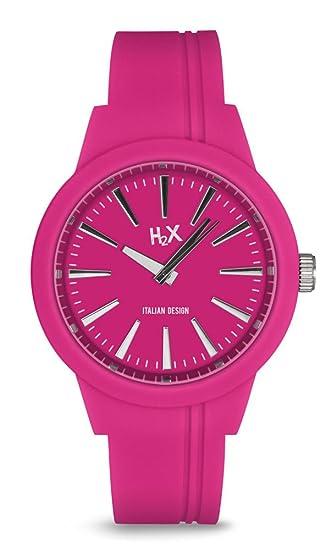 H2X SF399DF1 - Reloj de cuarzo para mujer, correa de silicona color rosa