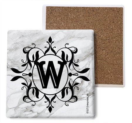 SJT ENTERPRISES, INC. Initial/Letter Marble Texture Coasters -W Absorbent Stone Coasters, 4-inch (4-Pack) (SJT96828) ()