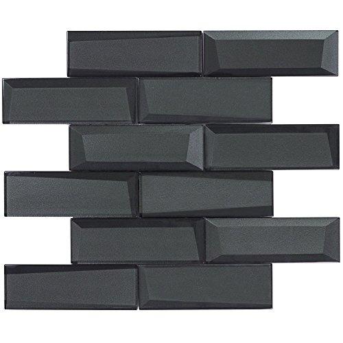 MTO0157   Modern Subway Black Glossy Glass Mosaic Tile