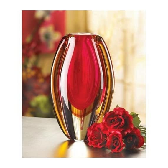 Gifts & Decor Sunfire Decorative Glass Vase Centerpiece - Stunning glass vase with an abstract pattern Bright and vibrant red and gold colors Fabulous decorative accent for any home - vases, kitchen-dining-room-decor, kitchen-dining-room - 51%2BVuywd8IL. SS570  -