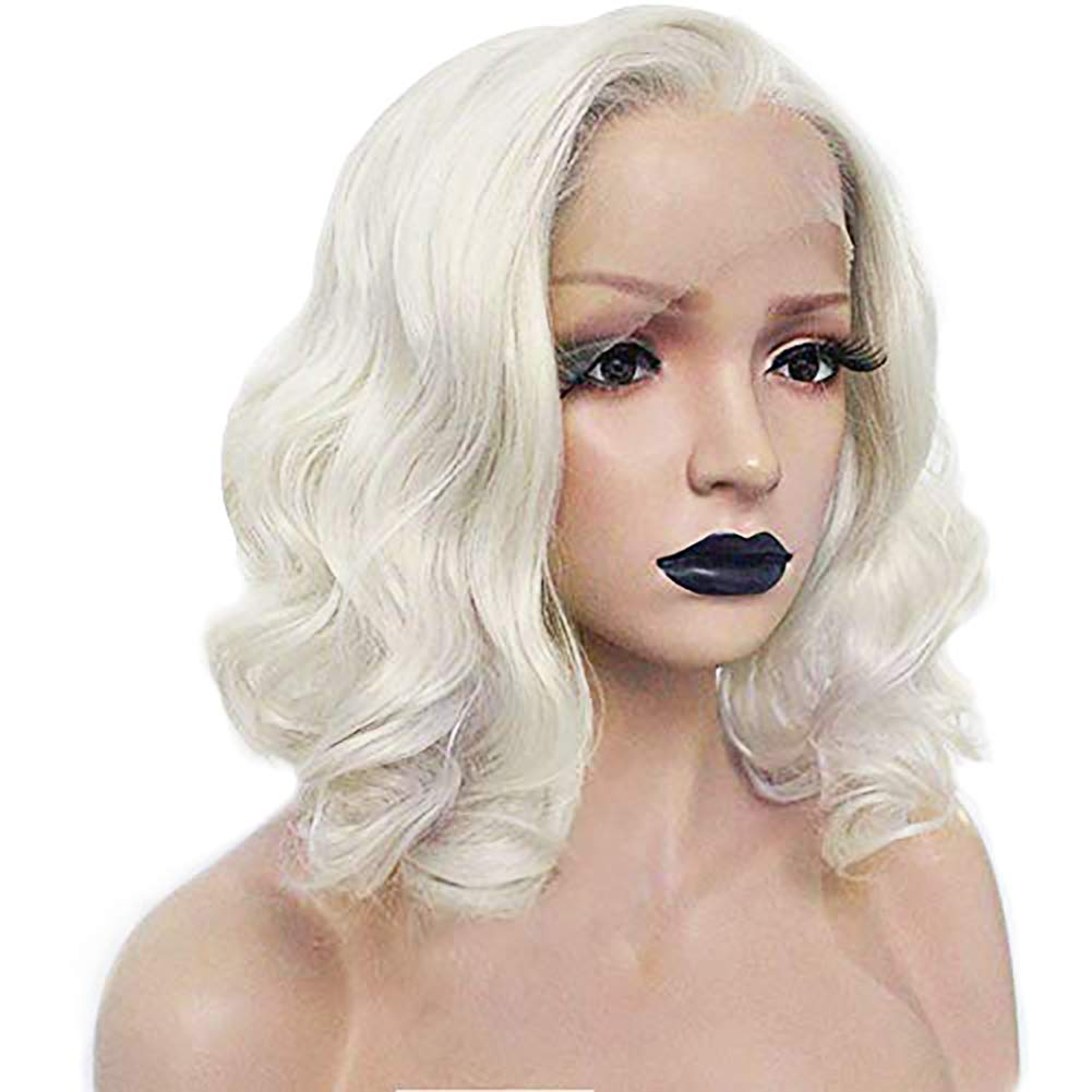 Anogol Hair Cap+ Platinum Short Blonde Lace Front Wig for White Women Curly Wavy Bob Wigs for Drag Queen Synthetic Body Wave Lace Wig Hair Costumes