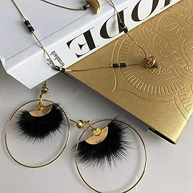 Wansan Black Hairball Tassel Earrings Bohemian Ethnic Dangle Hanging Rope Long Tassel Stud Earrings for Women Girls