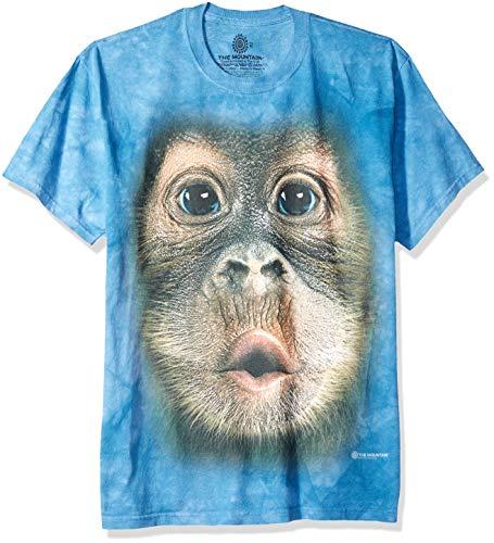 (The Mountain Big Face Baby Orangutan Adult T-Shirt, Blue, Medium)