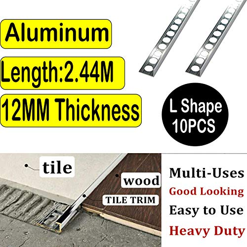 10Pcs Tile Edging Trim Square L-Shape 12mm Thickness 2.5M Length Aluminium Bright Chrome Ceramic/Wood/Bathroom Wall…